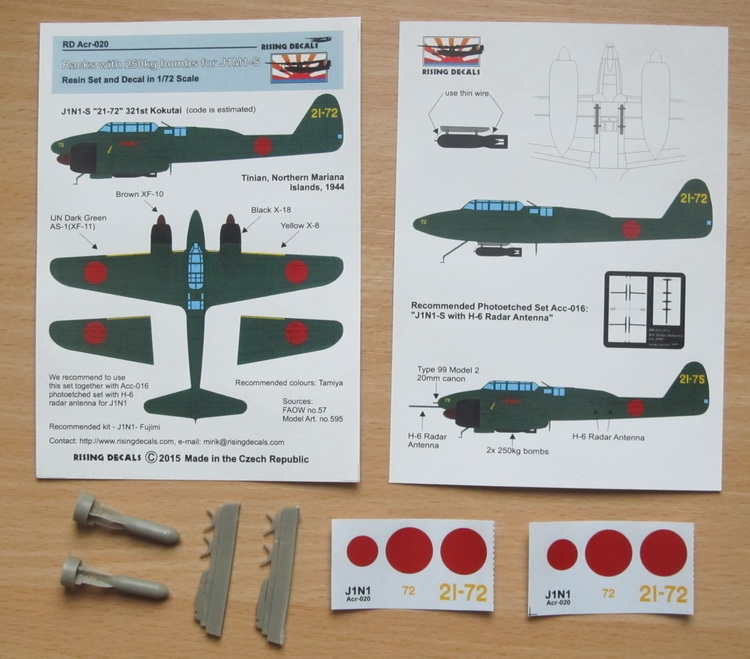 Acr-020 Bomb rack + 2 pcs 250 kg Bombs for J1N1-S + Decals
